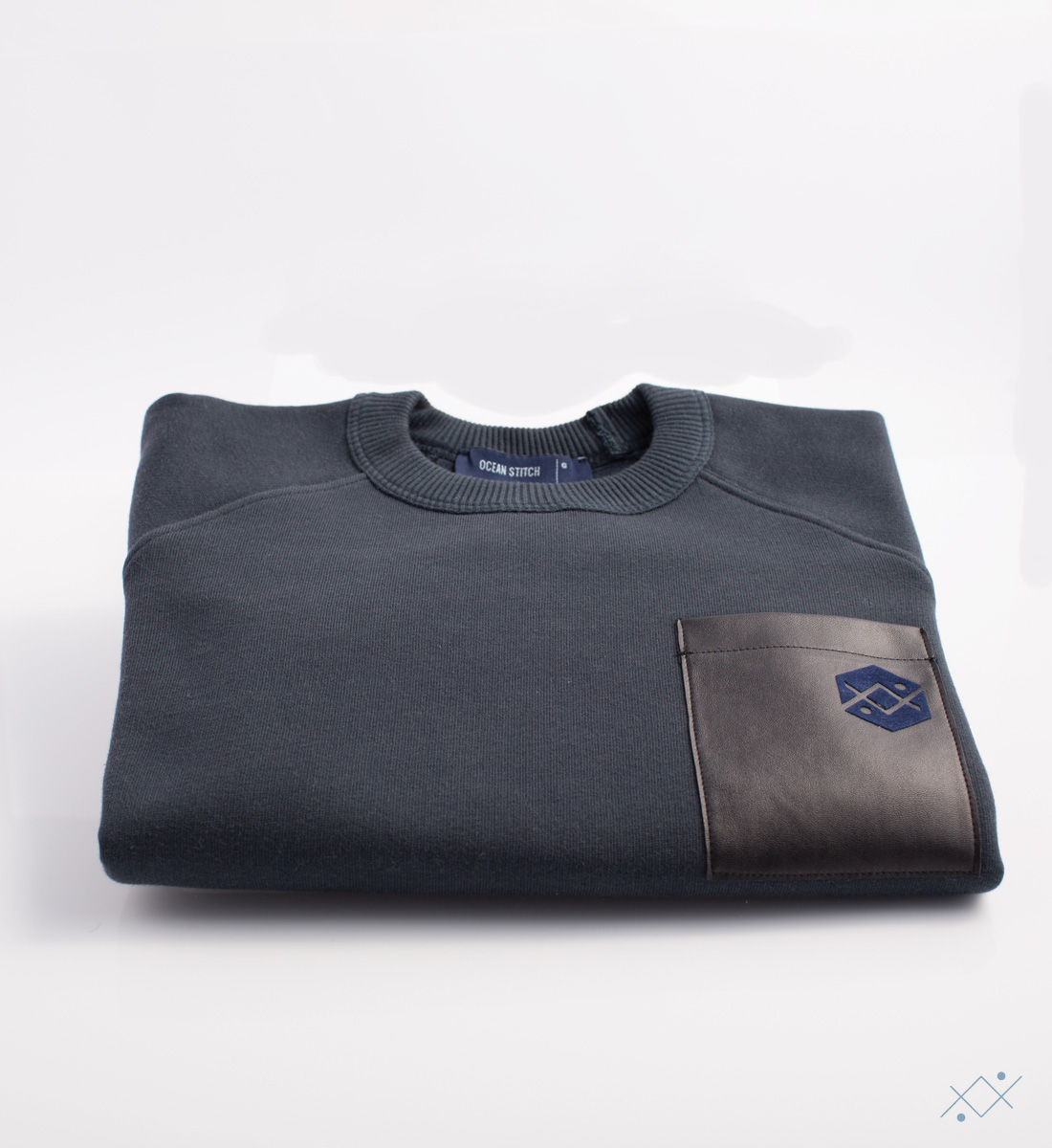 Kids navy cotton sweat with raglan sleeves - view2
