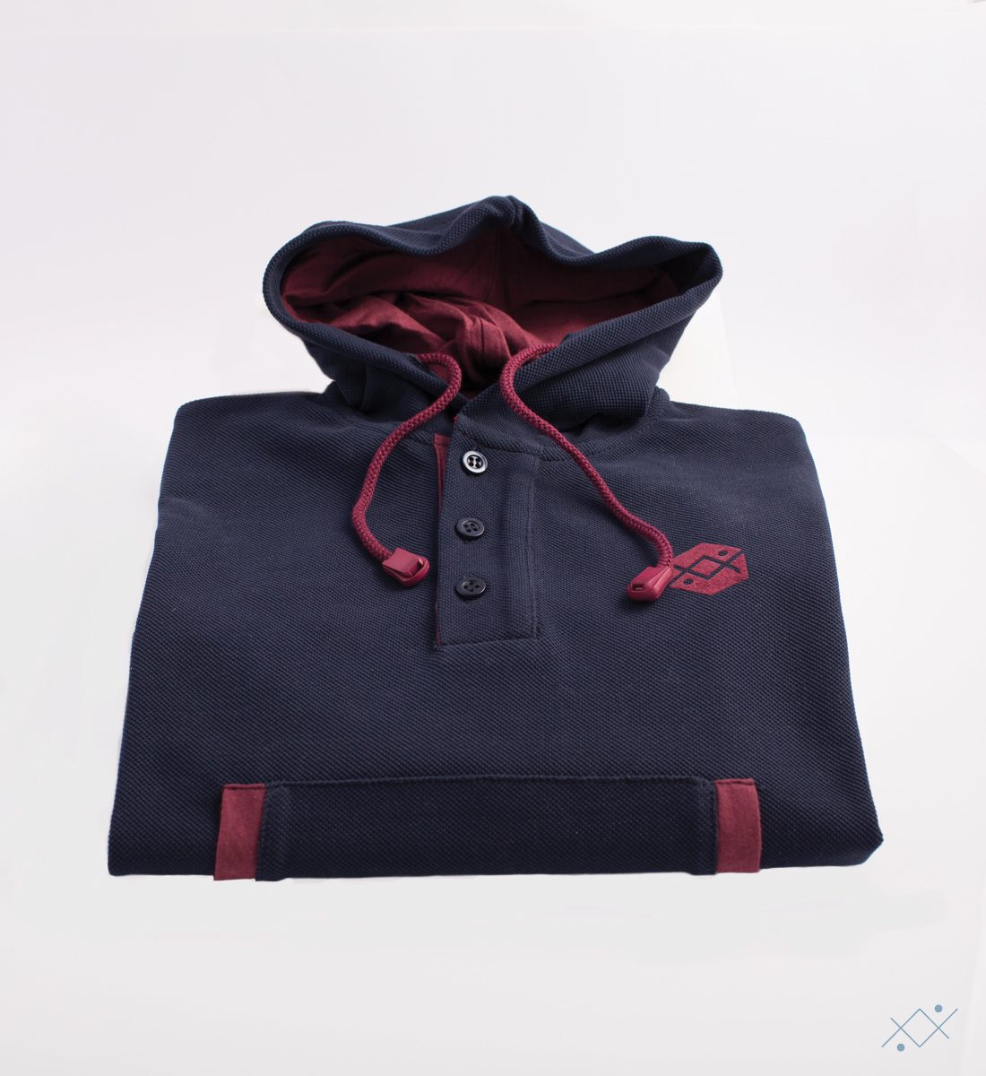 Blue heavy Piquet Hoodie made of 100% soft cotton - view2